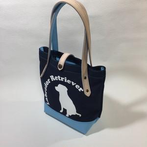 8号帆布と牛革のトートバッグ スカイブルー牛革×紺