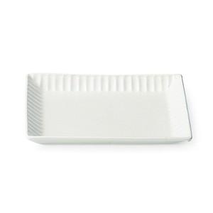 「ライン」 トーストプレート 皿 長幅20cm ホワイト 美濃焼 287172