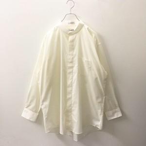 LUCASINI オーバーサイズ スタンドカラー コットン ポリエステル 無地 ドレスシャツ 比翼 アイボリー