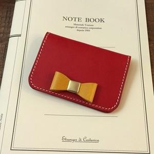 イタリアンレザーブッテーロのリボン付名刺ケース カードケース マチなし 15色より選択可
