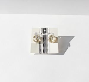 博多織樹脂イヤリング (RY-14) ホワイト シルバー ゴールド 銀 金 白 四角 和装 着物 博多献上