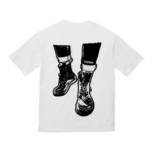 ハットワッペン&8ホール ビッグシルエットTシャツ / 白