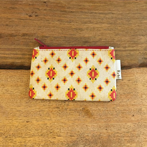 Ashi|亜紙 Flat Pouch S*Cambodia Traditional Design (Red) 紙ポーチ 伝統柄 カンボジア ハンドメイド