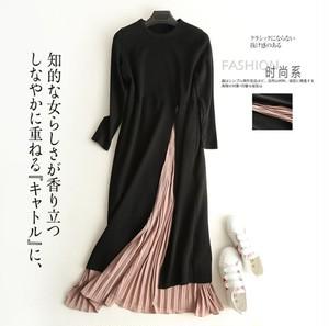 エレガントなサイドスプリット フォークステッチ シフォン プリーツスカート フレアスカート ドレス