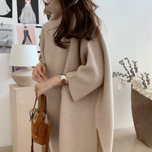 ​High-Neck Poncho-Style Long Knit T607