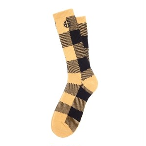 HUF BUFFLAO PLAID CREW SOCK MUSTARD