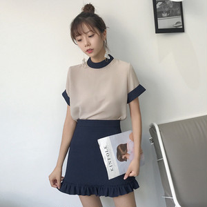 【お取り寄せ商品】chiffon blouse + high waist skirts 2487