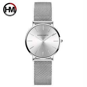 HMステンレススチールメッシュ腕時計トップブランドラグジュアリージャパンクォーツムーブメントローズゴールドデザイナーエレガントなスタイルの時計女性用cc36wyy