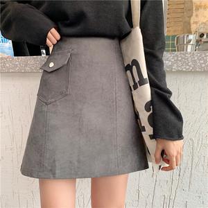 【ボトムス】初秋新作入荷韓国版ハイウエスト無地合わせやすいAラインスカート