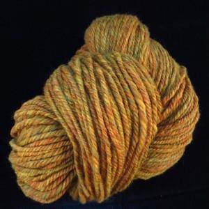 手紡ぎ毛糸: 染色メリノ:黄色系:100g