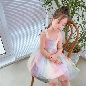 8375キッズワンピース チュール  夏 子供服 子供ワンピース キャミソールワンピース 女の子ワンピース 子どもワンピース ガールズワンピース チュールワンピース 虹 レインボー柄 参考身長90-130cm