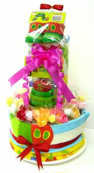 出産祝い オムツケーキ 3段おむつケーキ はらぺこあおむし3R2 男女共用  華やかな見栄えの豪華版