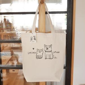 トートバッグ[Love cats, Love dogs.1]M ナチュラル