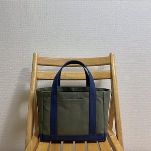 「軽いボックストート」小サイズ「オリーブ×ネイビー(紺)」帆布トートバッグ 倉敷帆布8号