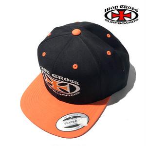 アイアンクロスサーフボーズ ロゴ キャップ IRON CROSS SURFBOARDS Logo Hat  /ic004-blackorange