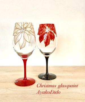 【クリスマスギフト】大人の楽しむXmasポインセチア ワイングラス1つ(手描きガラス絵付け)スワロフスキー付