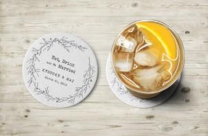 【ナチュラル】30枚~ お名前と日付をいれて作成するセミオーダーコースター│結婚式 ウェディング
