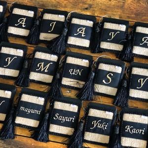 麻ジェードケカードケース兼パスケース(イニシャル刺繍、お名前刺繍)