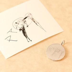 子どもの絵を刻印できるチャームL(K18) ~momento