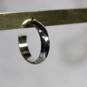 シルバープレーンフープピアス 4.0mm幅 鏡面|WKS PLANE HOOP PIERCED EARRING 4.0 sv mirror|FA-385