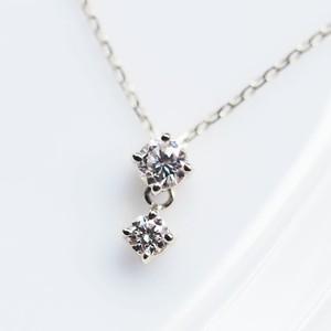 Pt900 華やかな2連ダイヤモンド ネックレス 0.15カラット【受注制作】