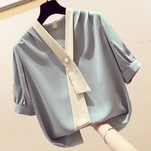 【トップス】ファッション通勤シフォンVネック着やせ見え半袖シャツ