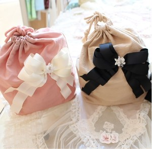【Ribbon Den'enchofu】リボンポーチ Pink/Beige