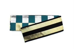 市松(金&銀&ターコイズ) × ボーダー(金&黒)(受注商品 (納期約1ヵ月))