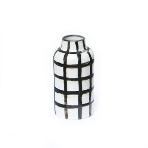 CANASA (カナサ) Flower vase (フラワーベース・花器) チェック柄 S【ブラック②】