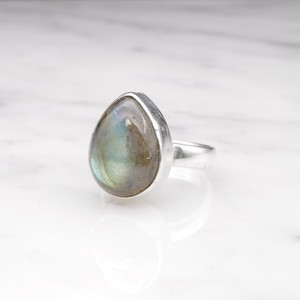 SINGLE BIG STONE RING SILVER 007