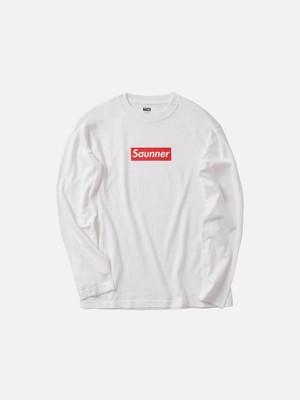 Saunner Box Logo Long Sleeve Tee - White