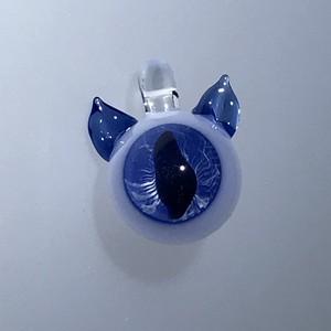 耳付きネコ目のペンダントTOP 青