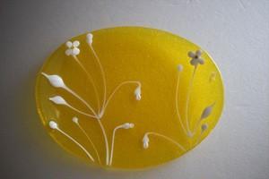 松下高文|見上げる景色 ガラス楕円皿 黄B