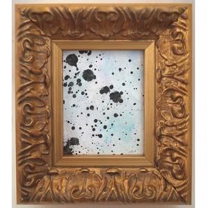 「無題」 紙にアクリル * 現代アート 絵画 抽象画 ミニ額 フレーム 内野隆文 takafumiuchino