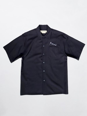 MARNI TROPICAL WOOL;S/S SHIRT 00B99 Blue Black CUMU0054A0