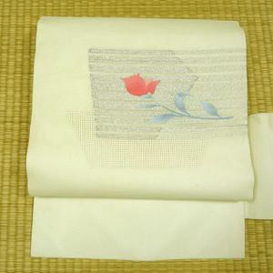 夏用 白地に銀糸と花 名古屋帯