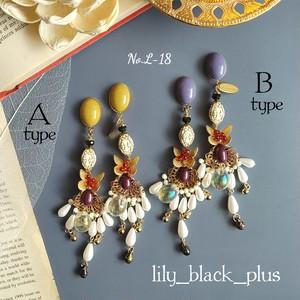 【再販】No.L-18 Butterfly真鍮とパールのマスタードピアス/イヤリング