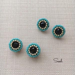 ビーズステッチのイヤリング285 black & turquoise