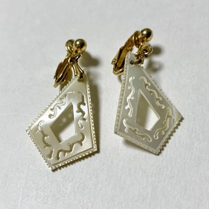 Vintage Hand Carved Mother Of Pearl Dangle Earrings