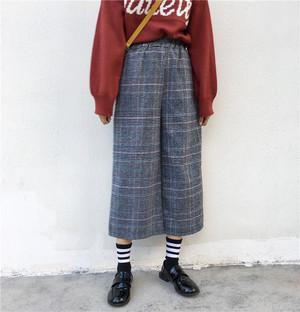 グレンチェック パンツ ウール カジュアル ボトムス【0292】