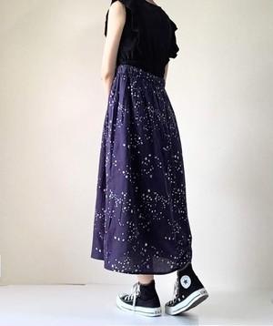 夜空柄*小さな星たち*リボン結びのロングスカート