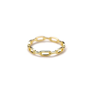 S925 LOCK CHAIN RING GOLD