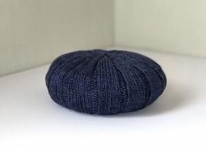 ジンバブエコットンのふんわりニットベレー帽 ブルー/ネイビーMix