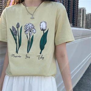 ニュアンスフラワーイラストTシャツ U5994
