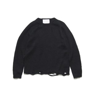 DAMEGED CREW NECK KNIT - BLACK