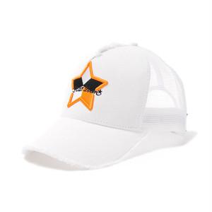【スターリアン】StarLean★メインデザイン刺繍メッシュキャップ(5パーツモデル・ロゴORANGE×WHITE)WHITE