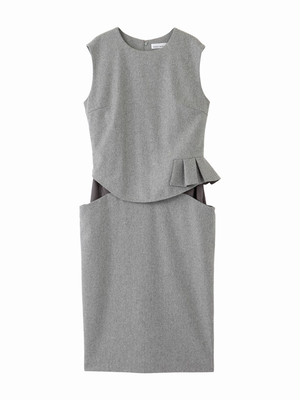 Frill dress  / medium grey × medium grey / W15DR06