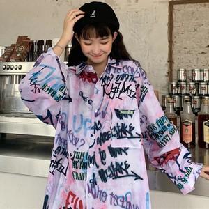 【トップス】ストリート系POLOネック落書きプリントシャツ22187208
