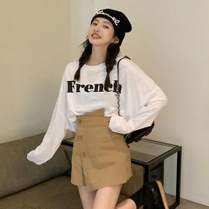 【セット】「単品注文」韓国系長袖ラウンドネックプルオーバーTシャツ+ショートパンツ50989396
