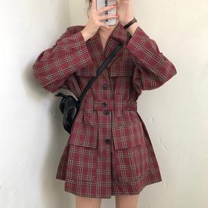 【ワンピース】着瘦せファッションPOLOネックシングルブレストチェック柄カジュアルワンピース